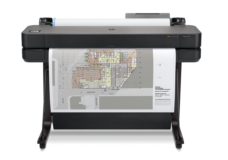 "HP DesignJet T630 Large Format Wireless Plotter Printer - 36"", with convenient 1-Click Printing"